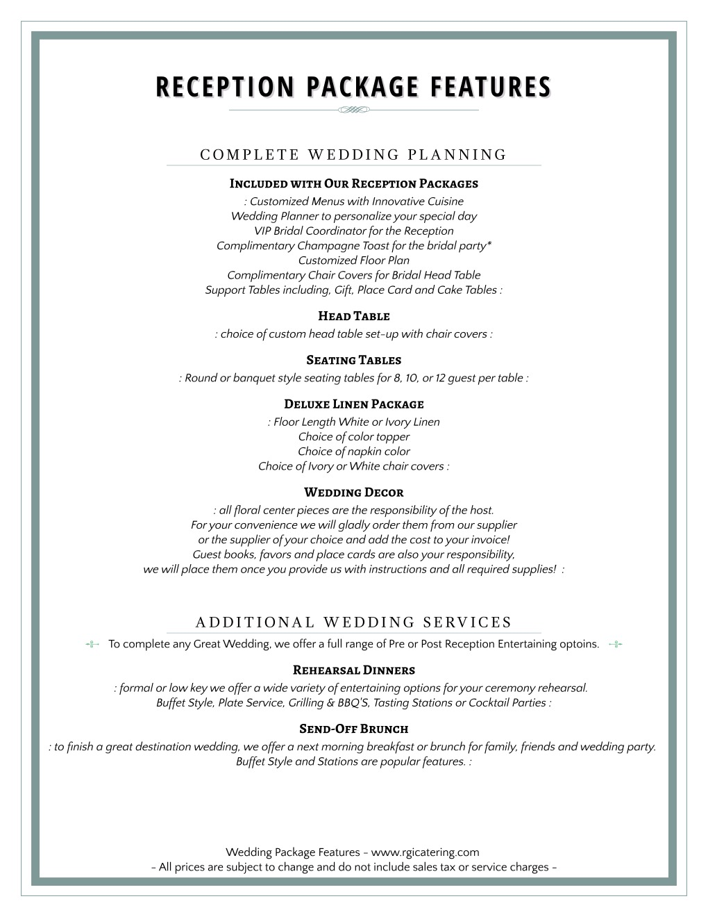 Wedding Packages - Rainer\'s Gourmet Catering